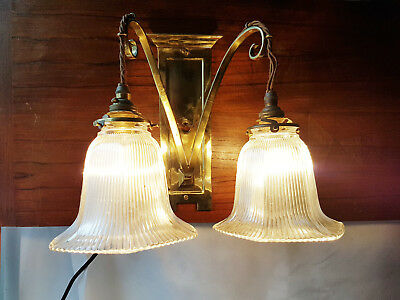 Edwardian Two Arm Brass Wall Light with original shades