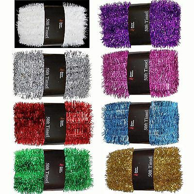 Great Value Christmas Tree Decoration 50ft x 3cm Tinsel - Many Colours