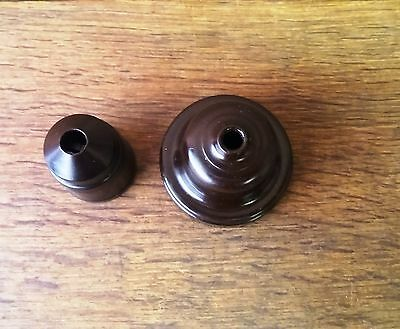 Re-claimed 1930's Brown Bakelite Bulb/Lamp Holder & Rose- Architectural Salvage