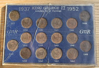 1937-1952 King George VI Complete Set of Farthings