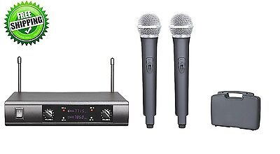 Dual Channels UHF Cordless Wireless Karaoke Microphone with Carrying Case