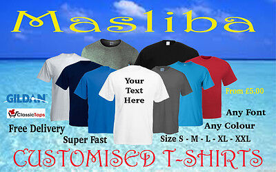 Personalised 100%Cotton Tshirts Custom Add Your Own Text Or Image Masliba