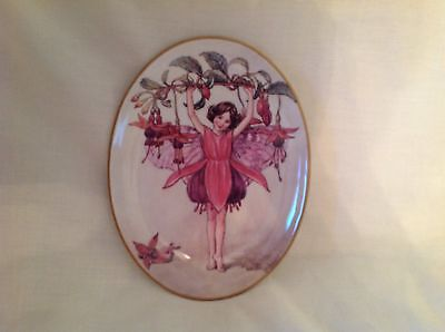 """Royal Worcester Flower Fairy Fuschia Fairy Oval Plate 8.5"""" Almost Mint First"""