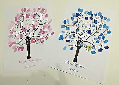 Personalised Baby Shower Christening Baptism Fingerprint Tree Guestbook Gift 1