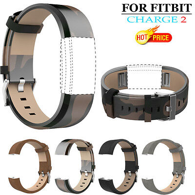 Fashion Sports Genuine Leather Bracelet Strap Band + HD Film For Fitbit Charge 2