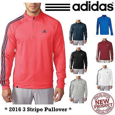 Adidas Golf Jumper Adidas Golf 3 Stripe Pullover Mens Golf Sweater 1/4 Zip New