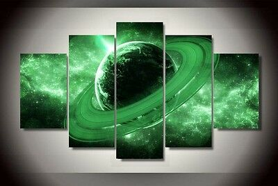 Modern Abstract Oil Painting Wall Decor Art Huge - Universe Planet Green Saturn