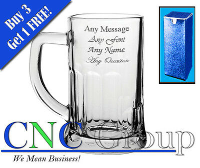 Personalised Engraved Abbey Glass Tankard With Gift Box - Any Message Engraved!!