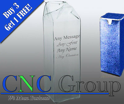 Personalised Engraved Glass Carton With Gift Box - Any Message Engraved!!