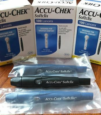 Sterile Accu Chek Softclix Lancing Device & 200 Lancets Glucose testing
