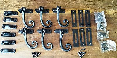 6 Sets-Traditional Black CastIron Monkey Tail/Curly Window Casement Handle/Stay