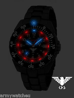 KHS Tactical Watch German Police Watch Stainless Steel black PVD coated Tritium