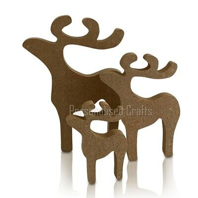 Free Standing Wooden MDF Stag Reindeer Shape Christmas Crafts 3 Sizes Available