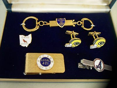 Vintage Lot~Green Bay Packers Cuff Links~Keychain~Men's Vintage Valet Set & More