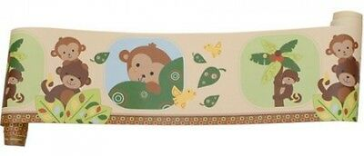 Bedtime Originals By Lambs and Ivy Kids Wallpaper Border, Monkey Curly Tails New