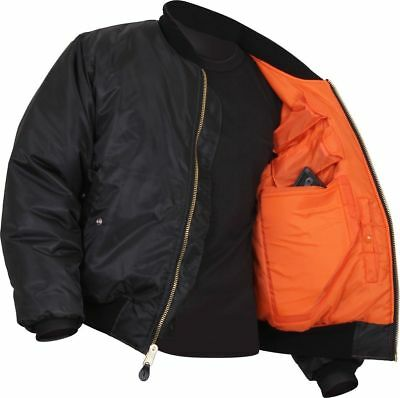 MA-1 Concealed Carry Black Military Flight Jacket Bomber Coat 77350 Rothco