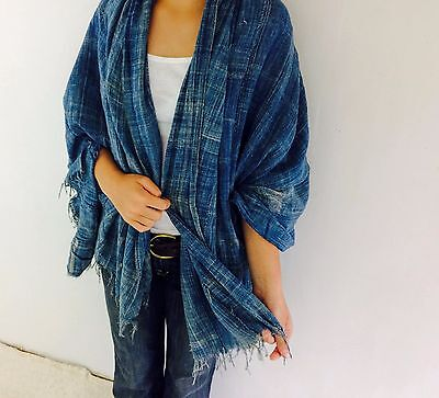 Vintage Faded Distressed Indigo Mossi Wrap/Shawl from Burkina Faso, West Africa