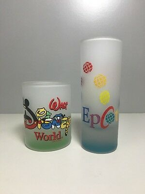 2 Walt Disney World Shot Glass & Shooter Epcot & Characters Lot Frosted Glass