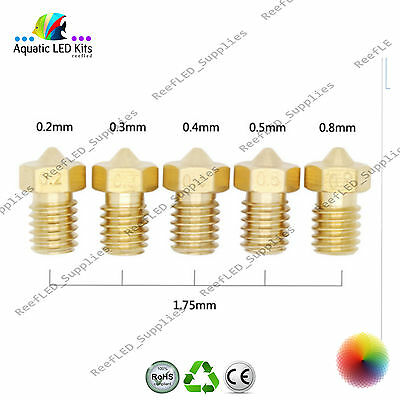 E3D Printer Nozzle J-Head Brass Nozzle 0.2,0.3,0.4,0.5,0.8mm V6 V5 1.75 RepRap