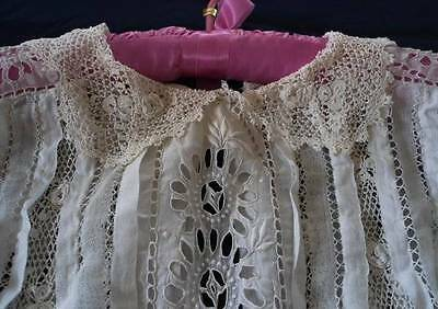 Antique Irish Crochet Lace Blouse Broderie Embroidered Lawn Shirt
