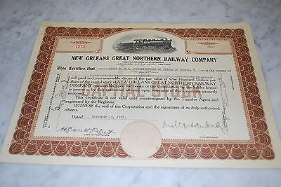 Stock Certificate - New Orleans Great Northern Railway Co – Mississippi 1933