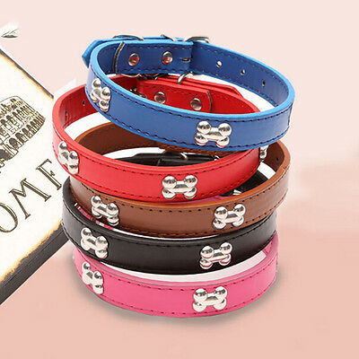 Adjustable Small Pet Dog Studded Collar Cat Puppy PU Leather Strap Buckle