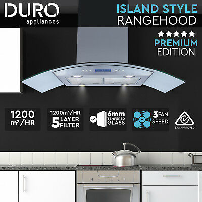 New Commercial 900mm Canopy Glass Range Hood Island Style Motor BBQ PERTH PICKUP