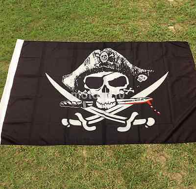 Crossed Sabres Small Flag 3ft x 5ft Skull & Crossbones Pirate Jolly Roger Party