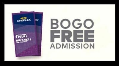 Cineplex 2 for 1 Admission Tickets Online Coupon BOGO Movies Sunday-Thursday