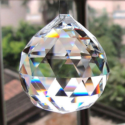 Hanging CRYSTAL BALL 40mm Sphere Prism Faceted Sun Catcher Clear Pendant