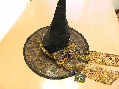 NEW Hallmark Halloween Witches Hat with Spider Web Pattern ~ One Size Fits Most
