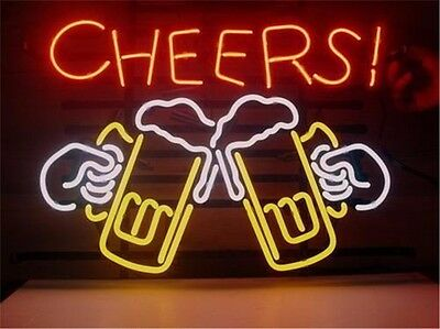 """CHEERS Glass NEON LIGHT SIGN Display Garage STORE BEER BAR CLUB Signage 17x14"""""""