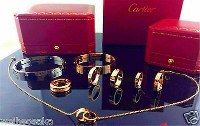 New Solid Gold 18K Cartier Love Nail Bracelet Necklace Ring Size Selectable