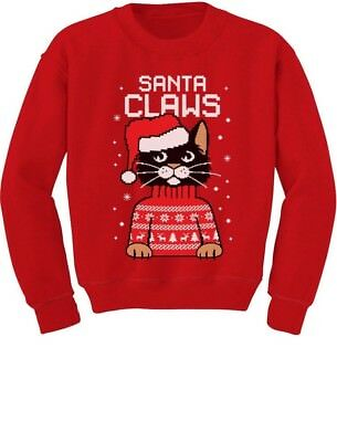 Santa Claws Ugly Christmas Sweater Cat Youth Kids Sweatshirt Gift