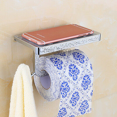 Wall Mounted Square Lavatory Roll Tissue Shelf Bathroom Toilet Paper Holder NEW