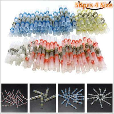 50pcs Set Solder Sleeve Heat Shrink Butt Electrical Wire Terminal Connectors NEW