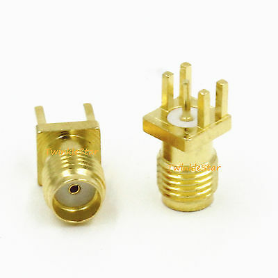 2Stk SMA Female Jack Solder Edge 1.6mm Space PCB Mount Straight RF Connector