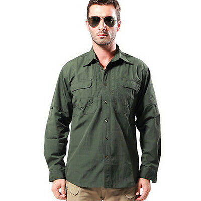 Men's Vented Quick Dry Camping Hiking Fishing River Army UV Long Sleeve Shirt