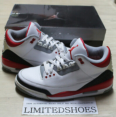 innovative design 4f40a 10900 NIKE AIR JORDAN 3 III RETRO FIRE RED 136064-161 US 9.5 black cement sport