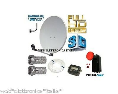 Kit Satellite:parabola 80 Cm+Lnb 4 Uscite+Cavo+Finder+Staffa+Spinotti