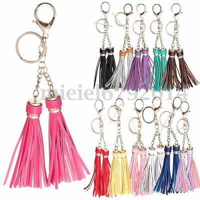 Fashion Long Leather Tassel Keyrings Bag Purse Pendant Charm Car Key Chain Ring