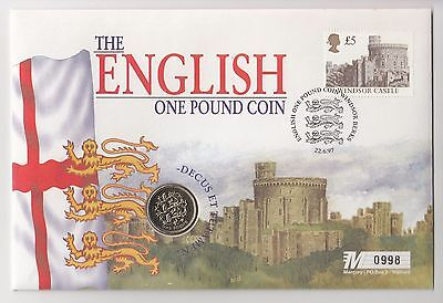 1997 The English One Pound Coin Cover with a £1 coin
