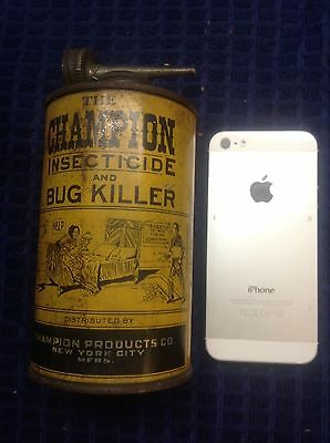 VERY Rare Vintage The CHAMPION Insecticide and Bug Killer spray can GRAPHIC!!