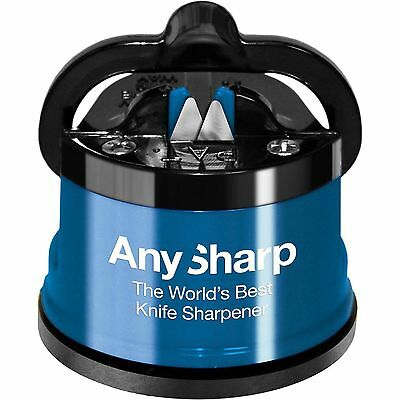 Worlds Best Any Sharp Blue Knife Sharpener Hands Free Suction Cup Grip