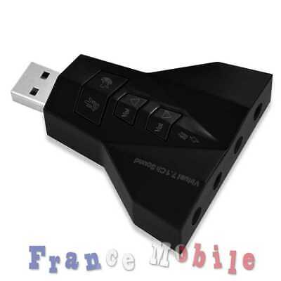 2 in 1 Adapter USB 2.0 Stereo 7.1 Audio Virtual Carte Externe Son Sound pour Pc