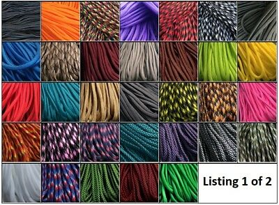 +***Paracord 550 - 25, 50 & 100 ft*** NOW 49 COLOURS; 7 strands, survival rope