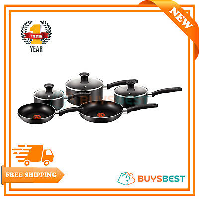 Tefal Essential 5 Piece Non-Stick Pan Set - Black A157S545
