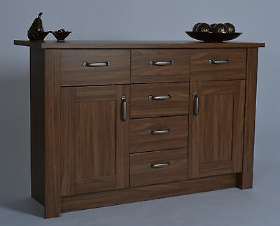 Living room wooden walnut sideboard buffet drawers cupboard buffet furniture new Walnut effect living room furniture