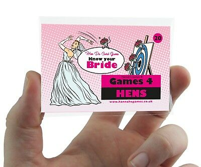 KNOW THE BRIDE HEN PARTY GAME CARDS Quiz Classy Hen Do Activity Ice Breaker pink