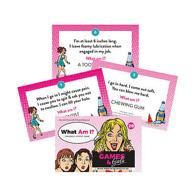 WHAT AM I INNUENDO RIDDLES HEN PARTY GAME Hen Do Games Rude Funny Hen Night Pink